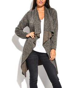 Dioxide Brown Drape-Front Sidetail Cardigan | zulily Cold Weather Fashion, Chic, Brown, Sweaters, Style, Shabby Chic, Swag, Elegant, Brown Colors