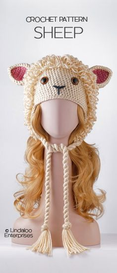 """SHEEP HAT CROCHET PATTERN from the book """"Amigurumi Animal Hats Growing Up"""" by Linda Wright. 20 crocheted animal hat patterns for Ages 6-Adult. Book available at Amazon.com and BarnesandNoble.com. http://www.amazon.com/dp/1937564991/"""