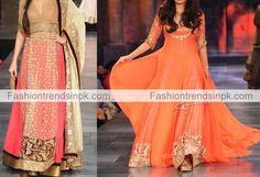 Stylish Manish Malhotra Dresses Collection 2015 Latest Frock Suits Designs. New Arrival Anarkali Frock, Kalidar Dress Georgette Kurta Image.