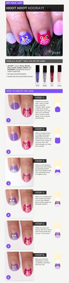 DIY Owl Nail Art for kids - a cute how to design owls on your little girl's nails. My daughter would absolutely love this! -- I'm doing this