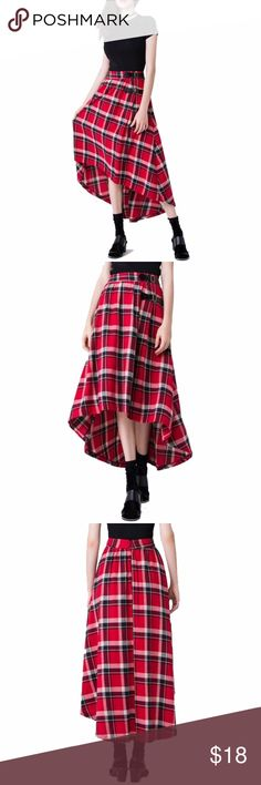 Long Plaid skirt Irish Tartan kilt style Long Skirt measures 26 inches at longer front 47 inches at back.Model is wearing a small & the exact same style. Close up shows fabric quality-Color dif is lighting. Brand new with tag! NWT Small=size 2,3,4  Medium= size 5,6,7  Large= size 8,9,10  Fit similar to styles @ Hello Molly, ASOS, Showpo ,Hot Miami Styles, Sabo Skirt , NBD, Lulus ,Tobi, Touch Dolls, Fashion Nova, Forever 21, Nasty Gal c1001  Visit my closet for more Styles! Sweet Sexy Styles…