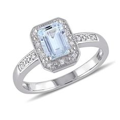 Emerald Aquamarine Diamond Halo Sterling Silver Ring 1/20ctw - Item RDJ000831   REEDS Jewelers