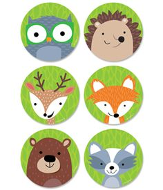 "Whimsical Woodland Friends 3"" cut-outs will brighten any classroom or child's room. Friendly woodland animals featured are the raccoon, fox, deer, hedgehog, owl on a green leafy background. These Woodland Friends cut-outs are perfect for use in a variety of classroom displays and themes including science, nature, outdoors, animals, and camping. They also make perfect decorations for a child's party."