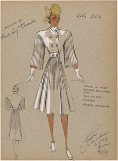 Tucks on skirt radiate from waistline. From New York Public Library Digital Collections. Fashion Design Drawings, Fashion Sketches, 1930s Fashion, Vintage Fashion, Women's Fashion, 1930s Costumes, Fashion Illustration Vintage, Fashion Illustrations, Abaya Designs