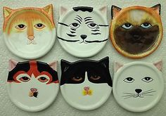 CERAMIC CAT COASTERS, SPOON RESTS, TEA BAG HOLDERS - Set of 6
