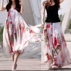 Adorable flower white long skirt