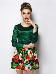 Wholesale Autumn 2 Colors Flowers Bowknot Waist A-line Dress_Fcplaza.com