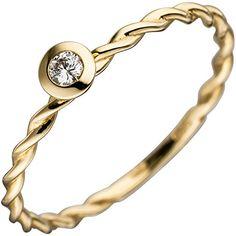 Dreambase Damen-Ring W SI wesselton 14 Karat Gelbgold 1 Diamant ct. Wessel, Bangles, Bracelets, Ring Finger, Solitaire Ring, Ebay, Diamond, Rings, Amazon