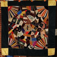 1880's Victorian Crazy Fans Star Crib Quilt ~NICE HAND EMBROIDERED ACCENTS!