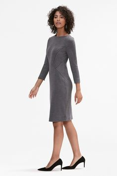 Want a dress that's modest, but still holds the spotlight? The Angela has a chic bateau neckline, full-length sleeves, and diagonal seams through the torso for a tailored, flattering shape. Bateau Neckline, Ribbed Fabric, Minimal Chic, Express Dresses, Gray Dress, Work Wear, Fashion Dresses, Cold Shoulder Dress, My Style