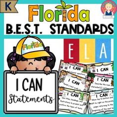 """Florida's B.E.S.T. Standards for Kindergarten - ELA - """"I Can"""" Statements ⭐ All the ELA standards are included.⭐ There is a poster for each standard. ⭐ The posters are illustrated to promote comprehension and student engagement. ⭐ Each strand is color coded: Foundational Skills, Reading {Reading Pros... School Resources, Learning Resources, Teacher Resources, Teaching Ideas, Disney Classroom, Art Classroom, Classroom Ideas, Star Kids, I Can Statements"""