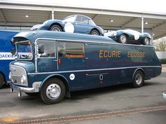 Ecurie Ecosse transporter capable of carrying three cars (one inside) together with a support crew, and with mobile workshop facilities. The transporter was built by coachbuilders Alexander, of Falkirk, Scotland. Based on a Commer chassis it is powered by a Commer TS3 three cylinder horizontally-opposed two-stroke diesel engine. The transporter has been restored and is still in use.