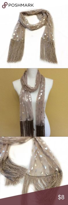 Poshmark: Tan polka dotted long scarf, Fringe long scarf. #shopmycloset #poshmark #fashion #shopping #style #forsale #Accessories