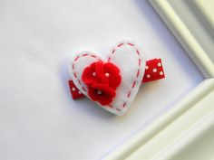 Valentine Clippie - White Heart Hair Clip. $3.75, via Etsy.