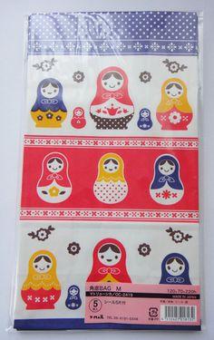 Cute Matryoshka Russian Dolls / Babushka Dolls / Stacking Dolls & Flowers Japanese Paper Gift Bags / Party Bags - Set Of 5 - Medium Size