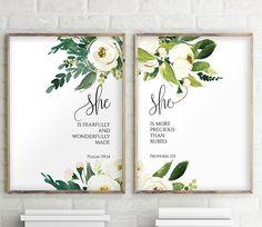 Set of 2 Prints Gifts for Goddaughter for Baptism Nursery #setoftwo #nurserydecor #bibleverse