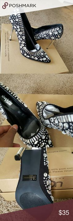 Women's Black Chic Bejeweled Pumps Charlotte Russe black bejeweled/studded pumps with a silver mirror-finish heel Charlotte Russe Shoes Heels
