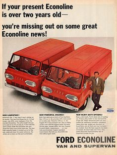 """Options in all Ford Econoline. Full page Ad for Ford, """"New. For Ford Truck. Old Advertisements, Car Advertising, Van Drawing, Vintage Vans, Vintage Auto, 1964 Ford, Bus Life, Ford News, Ford Falcon"""