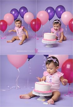 fun baby cake smash photos, pink purple balloons, pink white cake, baby