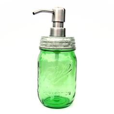Tickled Pink Green Pint Mason Jar Soap Dispenser ($25) ❤ liked on Polyvore featuring home, bed & bath, bath, bath accessories, green jars, green pumps, green soap dispenser, green bathroom accessories and green bath accessories