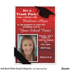 Give your college student a great send off with a trunk party!  Red Black White Trunk Party / Off to College Party Photo Invitation