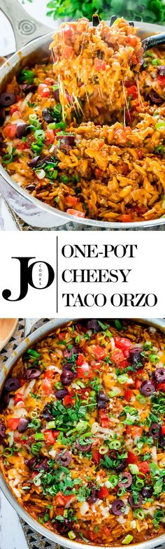 One Pot Cheesy Taco Orzo - picture the yumminess with this quick and delicious pot of perfect comfort food, ready in 30 minutes! Enjoy a big bowl of cheesy gooey goodness! Skillet Meals, One Pot Rice Meals, Healthy One Pot Meals, Big Meals, Burritos, One Pot Orzo, Cheesy Orzo, Vegetarian Comfort Food, Healthy Comfort Food