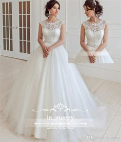 Modest Cheap Boho Beach Wedding Dresses 2017 A Line Scoop Plus Size Long Tulle Plus Size Lace Appliques Maternity Country Bridal Gowns Novia Arabic Wedding Dresses A Line Wedding Dresses 2017 Wedding Dresses Online with $219.43/Piece on In_marry's Store | DHgate.com
