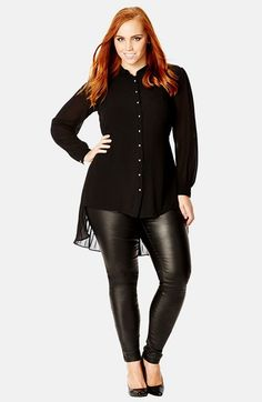 City Chic Pleat Back High/Low Shirt (Plus Size) available at #Nordstrom
