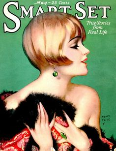Henry Clive cover art ~ may 1926 This cover presents a female character that looks expensive wearing jewellery and furs. The colours are strong yet realistic with high contrast of light and dark.