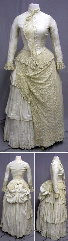 Day dress, Wool and cotton blend trimmed with lace, 24 hand-carved mother of pearl buttons. Old Dresses, Pretty Dresses, Vintage Dresses, Vintage Outfits, 1880s Fashion, Victorian Fashion, Vintage Fashion, Antique Clothing, Historical Clothing