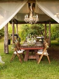 rustic outdoor spaces  ------------------------------ ---------------------------------Its a  5 Star  Camp. ( why not ) LOL