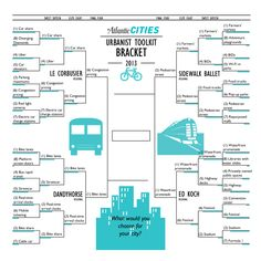 Urban planning and transportation ideas go toe-to-toe in the Atlantic Cities contest. Urbanist Bracket Challenge: Final Four - Henry Grabar - The Atlantic Cities