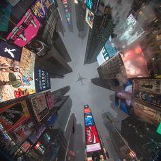 Times Square, Nueva York, Estados Unidos. Vista desde abajo