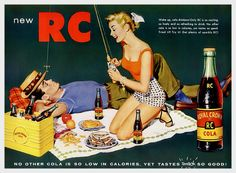 "vintageadvertising: ""  Royal Crown Cola No other cola is so low in calories, yet tastes smack so good! 1955 """