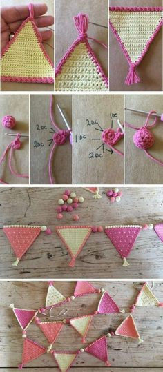 Crochet Iphone Crochet Pattern: Mini Tutti Frutti Bunting by Kate Eastwood - Loading. Free Crochet Pattern for Baby Bunting by Lion Brand at cache. Crochet Garland, Crochet Diy, Crochet Home, Love Crochet, Crochet Gifts, Crochet Flowers, Crochet Triangle, Crochet Squares, Crochet Stitches