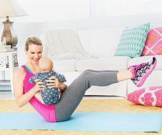 No need to try and squeeze a workout between naps and feedings. Kristin McGee, a personal trainer in New York City, created this one you can do with Baby! Start by doing the series one time through, three days a week, working up to two times through for best results. As always, clear exercise with your doctor first.