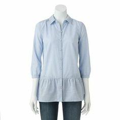 SONOMA life + style Peplum Chambray Shirt