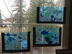 under the sea - window aquariums. Don't have blue transparency paper but we could just do contact paper?