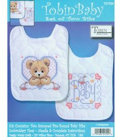 Tobin Baby Stamped Cross Stitch Bedtime Prayer Boy Bib