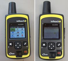 The inReach SE homescreen (left). The virtual keyboard on both inReach units is painfully slow. If you want to send any other messages besides the preset options, type messages with your smartphone using the Earthmate app.