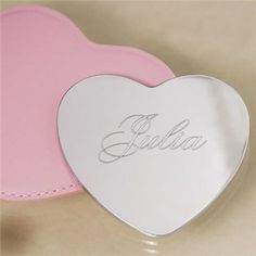 Silver Heart Shaped Mirror   Engraved Silver Heart Shaped Mirror