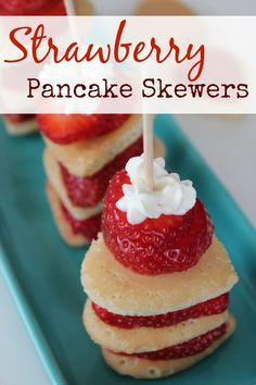 Fun and delicious heart shaped Strawberry Pancake Skewers - great for a Valentine's Breakfast!