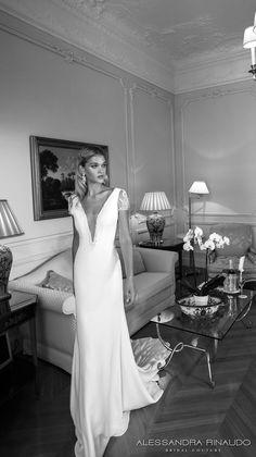alessandra rinaudo 2017 bridal short sleeves plunging v neck simple clean elegant sheath wedding dress open low back chapel train (brooklyn) mv