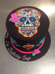 Day Of The Dead, Skull, Halloween Theme Cake
