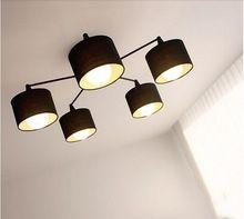 Free Shipping Modern Black/White 5Lamp Holders Modern LED Fabric Lampshade Pendant Light Lamp Home Decoration PLL-273(China (Mainland))