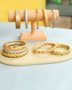 Make rope bracelets, then paint them gold! by lemmemakeit.blogspot who works for Martha