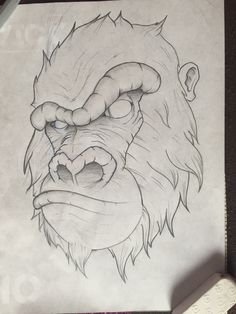 49 Monkey And Gorilla Pencil Drawing Ideas - Art Tattoo Design Drawings, Cool Art Drawings, Pencil Art Drawings, Cool Sketches, Art Drawings Sketches, Drawing Ideas, Tattoo Designs, Animal Sketches, Animal Drawings