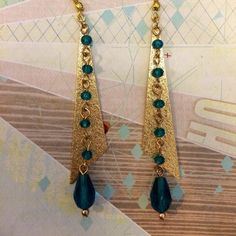 Torquoise and Gold Chain Earrings by Sparkazilla on Etsy