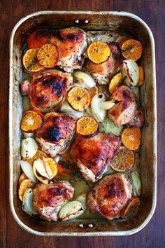 Roasted chicken with clementines sounds so delicious and cozy right about now.