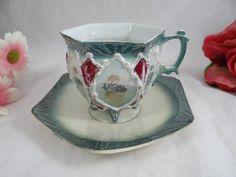 Vintage 6 Sided Majolica Teacup and Saucer set - Delightful Tea Cup